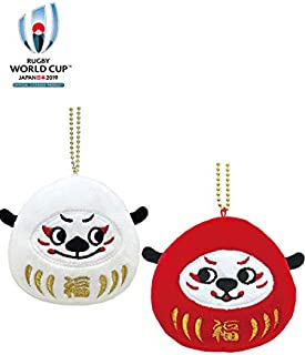RWC 2019 公式マスコット レンジー 「Ren-G」 だるま マスコット : Ren(白)&G(赤) ペア 182780-182781 ラグビーワールドカップ
