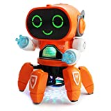 Boley Pioneer Dancing Robot in Orange - Walking Dancing Electronic Robot Toy for Kids with Disco Flashing Lights and Dance Music - Battery Operated