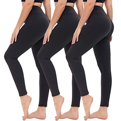 High Waisted Leggings for Women - Opaque Slim Tummy Control Pants for Yoga Workout Cycling Running (Black/Black/Black, Small-Medium)