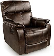 OT QOMOTOP Fabric Recliner Chair Sofa, Rocker Recliner Chair Manual Control, Single Rocking Recliner Chair Ergonomic Lounge Chair for Living Room/Home Theater (Brown)
