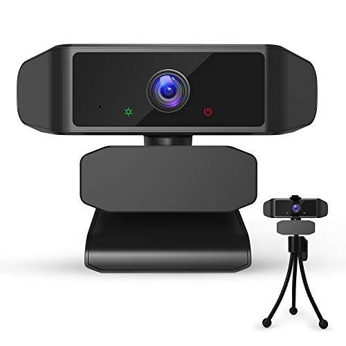 Webcam mit Mikrofon, Full HD 1080P USB Webkamera für PC Laptop, Autofokus Kamera Plug & Play für Live-Streaming, Konferenz, Zoom, Online-Unterricht, Spiel (mit Abdeckung&Stativ)