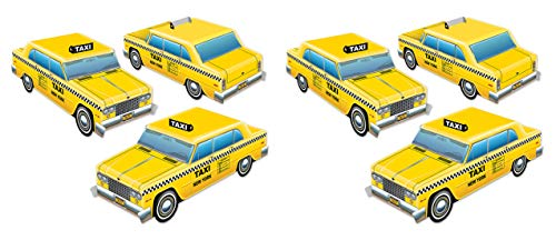 Beistle Three Dimensional Taxi Cab Centerpieces 6 Piece New York City Party Decorations, 4' x 10.5', Yellow/Black/White