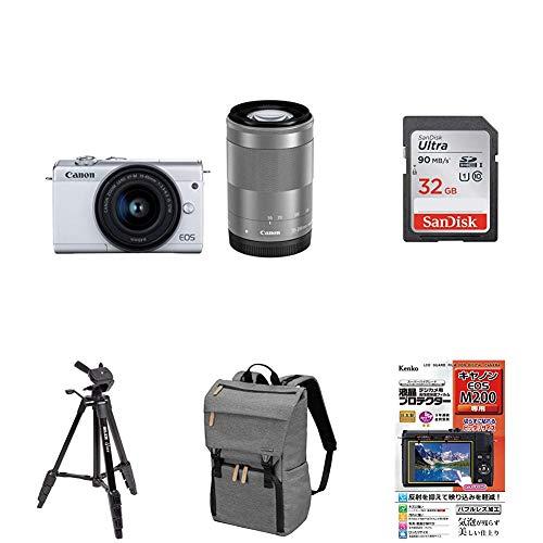 Canon ミラーレス一眼カメラ EOS M200 ダブルズームキット ホワイト EOSM200WH-WZK-A アクセサリー5点セット