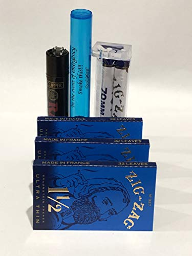 Zig Zag Ultra Thin Cigarette Rolling Papers 1 1/2 by DeLaCruzV 3 Packs+ Zig Zag 78MM Roller and Small Doobtube.
