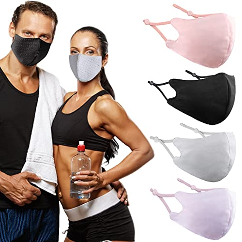 ASOONYUM 4Pcs Sport Mesh Face Mask, Cooling Breathable Mask for Men Women - Washable Lightweight Thin Comfortable Adjustable Balaclava for Outdoor Sun Protection Running Cycling Workout
