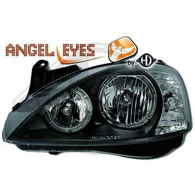 1813780, 1 paar Angel Eyes koplampen zwart voor Corsa C van 2000 tot 2006