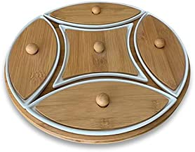 Serving tray woody (BIG) with rotatable base and dish and lid Divided Serving Dishes with Lids Perfect for Chips and Veggi...