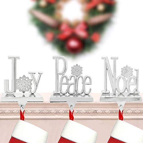 NaTursou Set of 3 Joy Peace Noel Stocking Holder Hanger Chrismas Stocking Holders Mantle Christmas product image