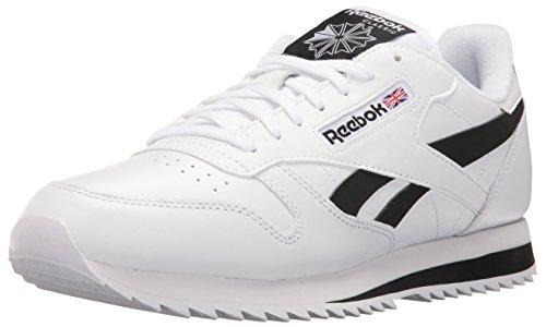 Reebok Classic Leather Fashion Sneaker da uomo, bianco (Bianco/nero), 47 EU