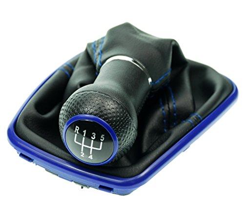L & P Car Design L&P A251-5 Schaltsack Schaltmanschette Schwarz Naht Blau Schaltknauf 5 Gang 23mm kompatibel mit VW Golf 4 IV Rahmen Blau Knauf Plug Play Ersatzteil für 1J0711113
