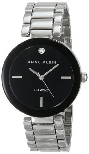 Anne Klein Women's AK/1363BKSV Diamond Accented Black Dial Silver-Tone Bracelet Watch