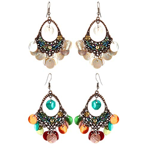 Vintage Bronze Sequins Dangle Earrings Hollow Disc Charms Drop Lightweight Filigree Shell Earrings Bohemia Jewelry for Women Girls-white colorful