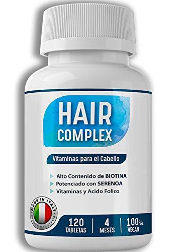 4 Meses [ 120 COMPRIMIDAS ] Suplemento de Biotina para el Pelo | Vitaminas para el Cabello y Saw Palmetto | Biotin para Crecimiento y Fortalecimiento