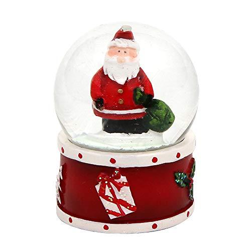 Dekohelden24 Mini-Schneekugel mit Weihnachtsmann, roter Sockel, Maße L/B/H: 4,5 x 3,5 x 3,5 cm Kugel Ø 3,5 cm.