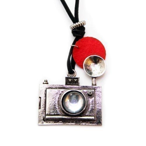 Vintage camera halsketting met fotoapparaat, ca. 70 cm lange ketting - spiegelreflex hanger zilver DSLR