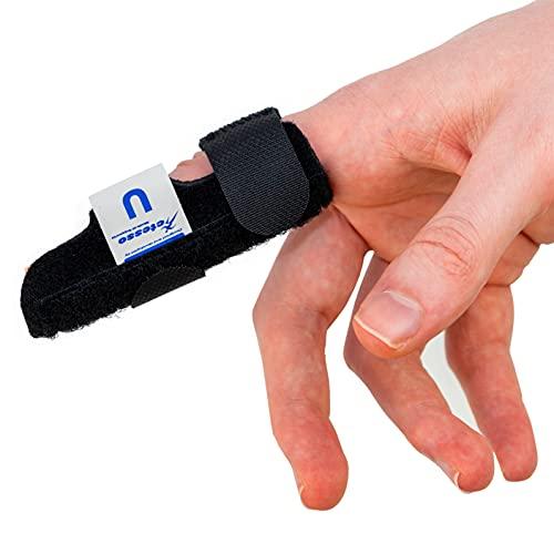 Actesso Neopren Fingerschiene - Unterstützung bei Triggerfinger-Verletzung, Hammerfinger und bei Gelenkschmerzen. Einheitsgröße (Schwarz)
