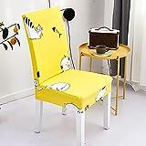 Fundas para sillas 4 Pieza Gato Animal Amarillo Lavables...
