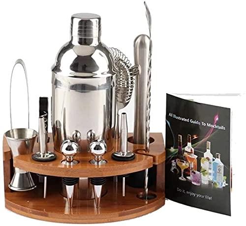 SSFG Juego de 12 Piezas de Acero Inoxidable para Hacer cócteles, Mezclador de Bebidas con Soporte de bambú, Kit de Mezcla de Camarero hogar