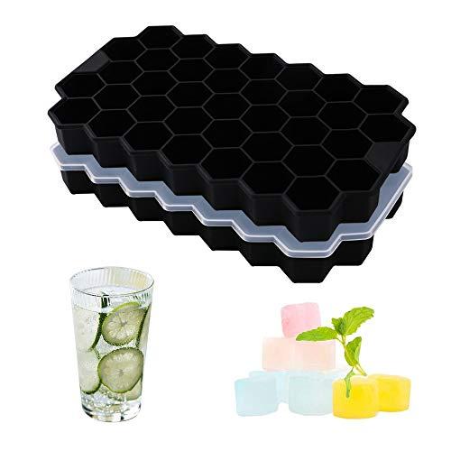 Dribotway Cubitera de silicona sin BPA, paquete de 2, 37 compartimentos, con tapa, para bebidas frías, whisky y cócteles (negro)