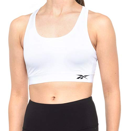 Reebok Women's Wireless Racerback Sports Bra - Medium Impact Athletic Active Fitness & Gym Bralette w/Keyhole Cutout - Stark White Cardio 2.0, Large