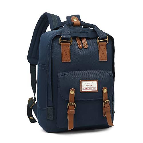 CALIYO Rucksack Damen groß modern Schulrucksack Mädchen Teenager Tagesrucksack Verschiedene Tragevarianten Rucksack für Uni viele Fächer mit Laptop-Fach Backpack wasserdicht (Dunkelblau)
