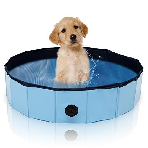 Hengda Hundepool für Hunde und Katzen, Faltbarer 80 x 20cm Swimmingpool mit Ablassventil, tragbare und verschleißfest Hundeplanschbecken