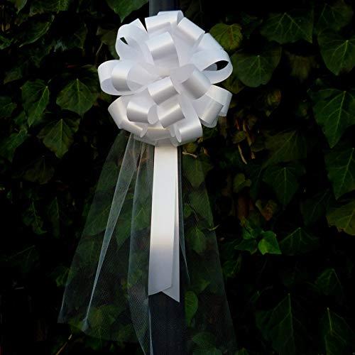 Lazos con cintas para tirar blancos con colas de tul para bodas - 20 cm (8 in) de ancho, Set de 6, Día de San Valentín, Pascua, Día del Padre, Navidad, Cumpleaños, Recepción, Día de San Esteban