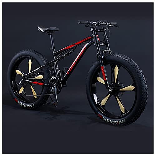 26 Pulgadas Bicicleta BTT Neumático Gordo para Adulto Hombre Mujer, Doble Suspensión Bicicleta Montaña, Profesional Niña Niño Marco de Acero Carbono MTB,Black 5 Spoke,27 Speed