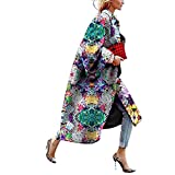 Mujer Chaqueta Larga A Prueba de Viento Cálido Abrigo de Invierno Moda Impresa Grueso Abrigo Elegante Cárdigan Suelto Mangas Acampanadas Rompevientos