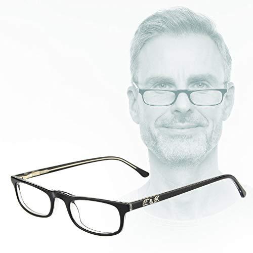 Edison & King Praktische Lesebrille Remedy in 2 Tragevarianten, mit Premiumgläsern (schwarz-transparent, 3,00 dpt)