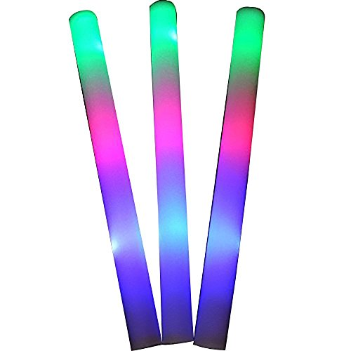 YMCtoys LED Light Up Foam Sticks Three Modes Color Changing Glow Party Supplies for Halloween, Raves, Concert (100 Pack)