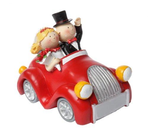 Bruidspaar in de rode auto, klein, polystone - decoratief figuur/taartdecoratie