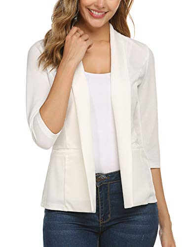 Concep Womens Notched Lapel Pocket No Button Work Office Blazer Jacket Suit Open Front Stretch Cardigan (White, Medium)