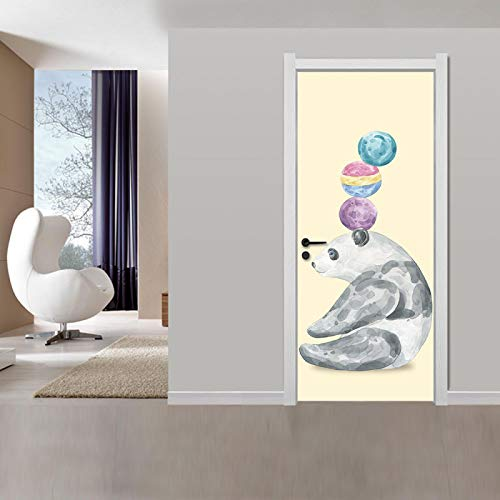 JYXJJKK Door Stickers Bedroom Living Room Cartoon animal panda 90x210 cm Vinyl Boys Art Bedrooms Poster Room wall art Home Decor PVC Self Adhesive Diy door Poster Mural Waterproof Office Decal Wallp