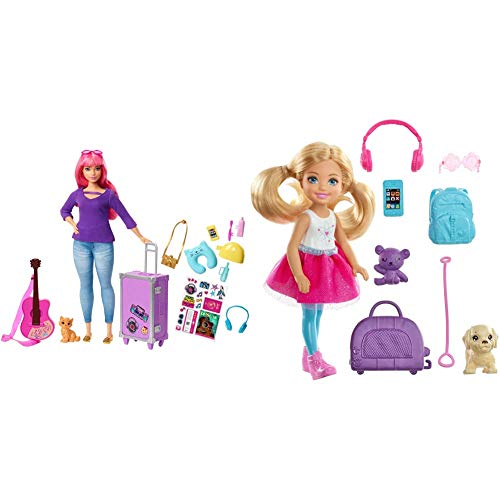 Barbie FWV26 Daisy Doll and Travel Set with Kitten, Luggage, Guitar and Accessories, Multicolour & FWV20 Chelsea Doll and Travel Set with Puppy, Multicolored