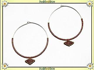 Orecchini a cerchio argento 925 perle rombo rosa corallo oro 40mm perle regalo giapponese personalizzato noel amico festa ...