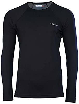 Columbia Omni-Heat Mens Midweight Stretch Baselayer Long Sleeve Shirt, Black, Large