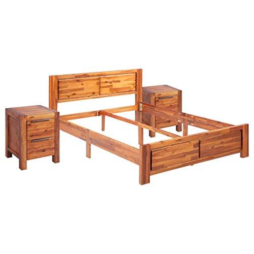 vidaXL Akazienholz Massiv Bettgestell mit 2 Nachttischen Nachtschrank Nachtkommode Doppelbett Bett Holzbett Futonbett Schlafzimmermöbel 140x200cm