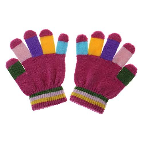 SUSHUN 1 Pair Kids Gloves Full Finger Warm Winter Children Colorful Stripe Knitted Boys Girls Solid Glove Multi Color Elastic Rose Red #914cm