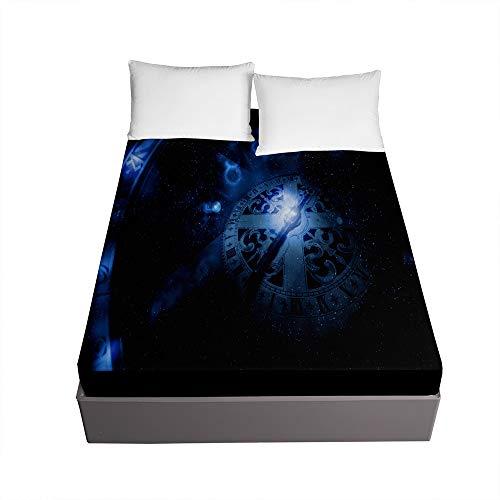 Bedding Sábana Bajera Ajustable, Treer Bolsillo Profundo de 30cm Microfibra Suave con Esquinas Elasticidad y Antiarrugas Protector de Colchón (Azul Marino,120x200x30cm)