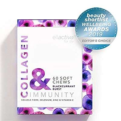 Ellactiva Collagen& I Immune System Boosting chews with Vitamin C, Selenium, Zinc, Prebiotic Fibre & Collagen hydrosilate I Award Winning