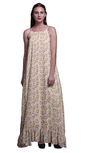 Bimba hellgelb3 Blumen- Bodendecker Rose Nachthemden für Frauen Rayon gedruckt Spaghetti Strap Damen Nachtwäsche Dessous Large