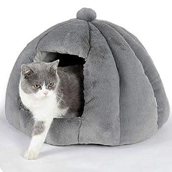 BingoPaw Abri Douillet Chat 2 en 1 avec Dômes Niche pour Chat Chien avec Coussin Amovible Grotte Tente Maison Pliable pour Animaux de Compagnie (Gris)