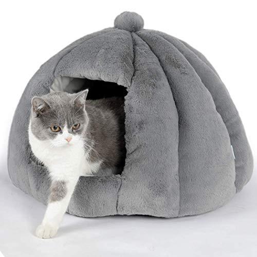 BingoPaw Cama Cueva para Gatos, Caseta Suave y Cómoda para Mascotas Pequeñas, Cama Nido con Cojín Extraíble y Lavable para Perros Gatos, 51 x 51 x 38cm (Gris)