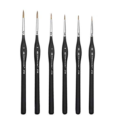 TOYMYTOY 6pcs pinceles de pelo de la comadreja detalle fino conjunto de cepillo de pintura Fine Tip Art pincel de pintura para detallar dibujo de la pintura