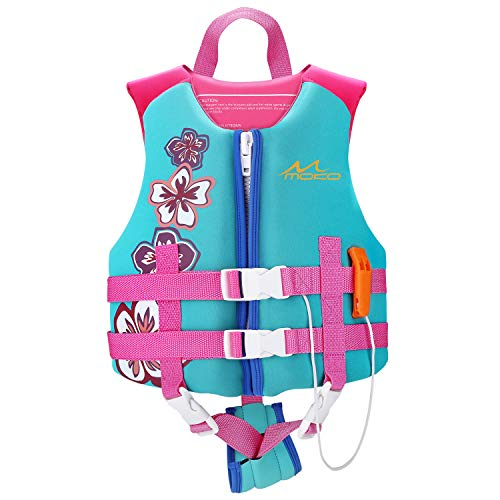 MoKo Life Jackets for Kids 50-90 lbs, Children Life Vest Swimming Aid Life Jacket Cute Pattern Watersports Swimming Vest Flotation Device for Toddlers Boys Girls, L Size - Lake Blue