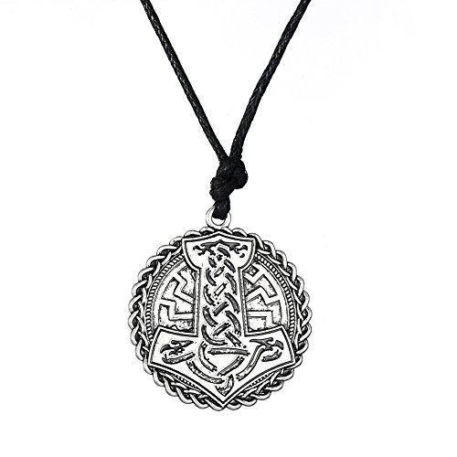 fishhook Protection Necklace Viking Necklace Thor's Hammer Celtic Knotwork Sun Wheel Raven Symbol Pendant Necklace for Women Men Boys