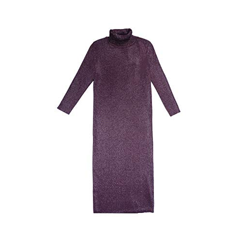 Coming Long Half Turn Down Collar Knitted Pullovers Solid Primer Shirt Knitted Dress Sweater,Purple,L