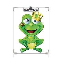 カスタム クリップボード クリップファイル 動物の装飾 事務用品の文房具 (2個)彼の唇に金の王冠と口紅のマークが付いたかわいいカエルの王子の漫画のキャラクター