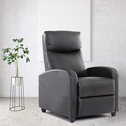 Recliner Chair Single Sofa Armchair for Living Room Modern Ergonomic Adjustable Home Theater Seating Thicker Seat Backrest Cushion PU Leather (Black)